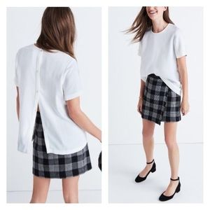 Madewell Maison Button Back White Blouse Shirt Top